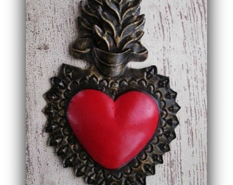 Punched Tin Sacred Heart ,  Mexican Heart , Mexican Folk Art - Wedding, Anniversary, Engagment
