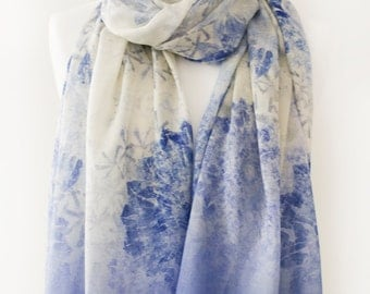 Soft Powder Blue Voile Mosaic  Print Scarf with complimentary Gift Wrap