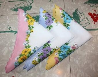 Adorable Floral Trio Printed Cotton Vintage Handkerchiefs