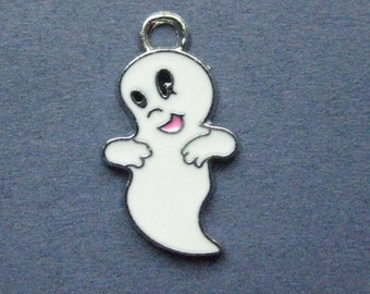 5 Ghost Charms - Ghost Pendants - Halloween Charm - Ghost - Ghosts - Antique silver- 25mm x 14mm -(G5-12062)
