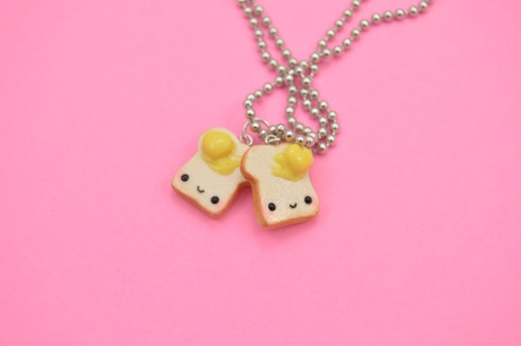 BFF Necklaces, Toast Charm Necklace Set, BFF Charms, Best Friend Gift, Kawaii Toast, BFF Jewelry, Kawaii Jewelry