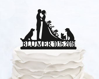 Wedding Cake Topper With Last name_MR & Mrs cake Topper with date_Custom Cake Topper three dogs_Groom And Bride Cake Topper