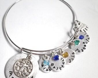 Personalized Charm Bracelet - Keepsake Jewelry  - Birthstone Jewelry - Mother's Jewelry - Gift for Mom - Grandmother Bracelet - Family Tree