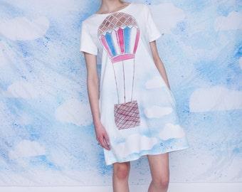 Vintage hot air balloon dress/ cloudy dress/ joyful dress