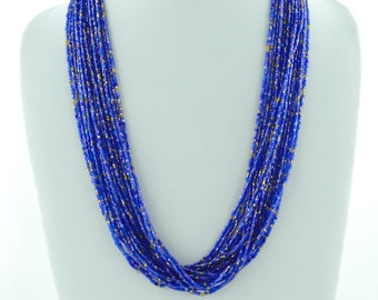 Royal Blue Seed Bead Jewelry, Necklace Beads, Casual Necklace, Bib Necklace Statement