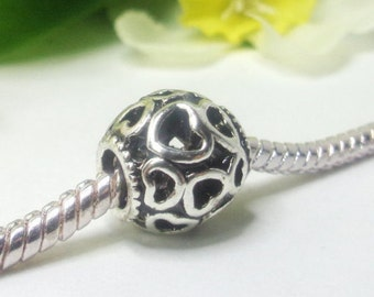 2 antique silver charm 10mm high quality, European pearl, hearts pattern, 4.5mm wide hole