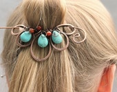 Blue Boho Hair Clip, Beaded Hair Barrette, Turquoise Hair Jewelry, Flower, Hair Slide, Copper Hair Pin,  Hair Accessories for Women Gift