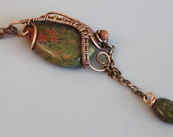 Unakite Pendant, Wire Pendant, Copper Pendant, Copper Wire Wrapped Pendant, Earthy Pendant, Green Stone Pendant, Copper Wire Jewelry