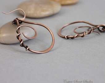 Copper Wire Earrings, Wire Wrapped Earrings, Metal Teardrop Earrings, Hand Forged Earrings, Plain Earrings Copper Wire Jewelry, Gift for Her