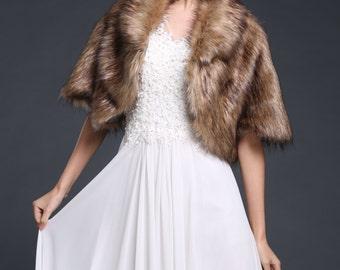 HailieBridal Women's Brown Faux Fur Bride Bridesmaids Stole