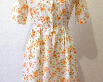 Vintage 1950s Dress | 50s Floral Dress | 1950s Day Dress | NPC Fashion Dress