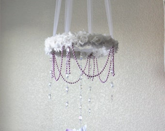 Lavender crystal nursery mobile, purple pom pom beaded shabby chic baby girl chandelier