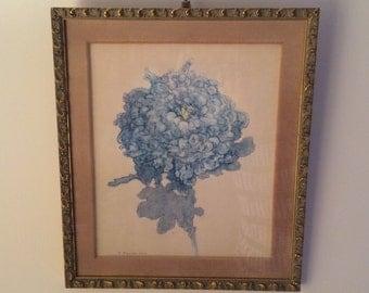 Framed Mondrian print of 1922 watercolor Blue Chrysanthemum