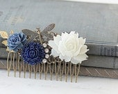Navy Blue Roses Hair Comb - Wedding Hair Comb Flowers - Vintage Style Wedding Hair Comb - Something Blue Hair Comb - Bridal Hair Comb