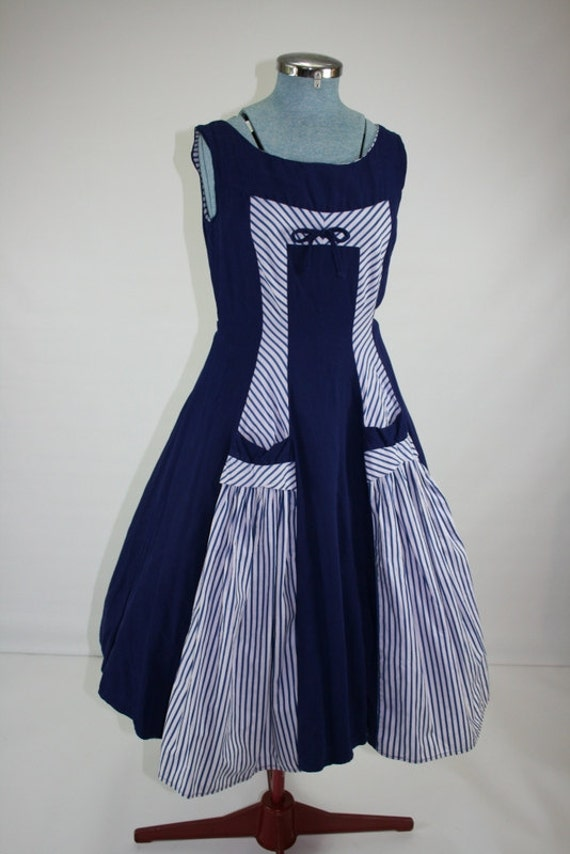 1950s navy rayon with navy white candy stripe nautical dress 35/27/F