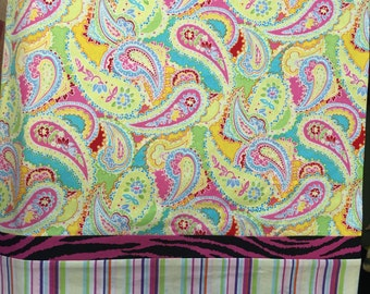 Pillowcase, travel size pillowcase, toddler size pillowcase, paisley, girl bedding, birthday gift