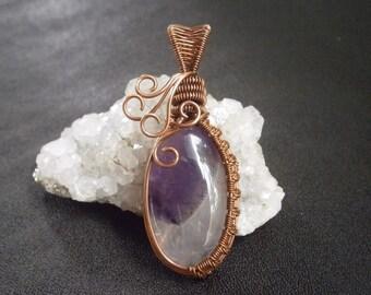amethyst jewelry gemstone pendant holistic jewelry copper pendant wire wrapped jewelry amethyst chevron