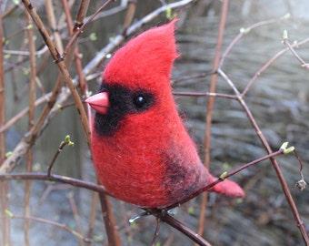 Felt bird - Northern Cardinal is the symbol of NFL team Arizona Cardinals and MLB team St. Louis Cardinals.