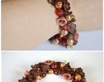 Flower bracelet Gift idea|for|her Brown bracelet Gift|for|women Nature jewelry Unique gift Flowers roses Jewelry gift Brown jewelry nature