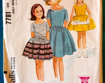 "Vintage 1965 girls dress sewing pattern - McCall's 7781 - size 10 - 28"" breast/chest - 1960's"