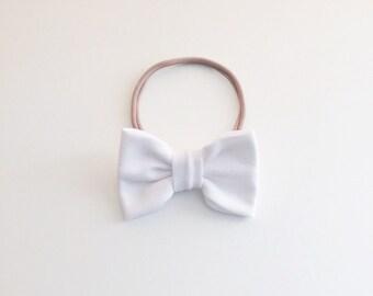White Classic Hair Bow
