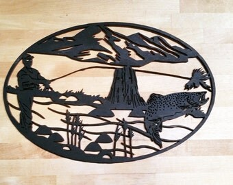 fly fishing wood cutout