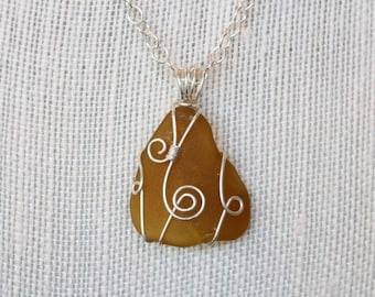 Sea Glass Necklace, Sterling Silver Necklace, Brown Sea Glass Pendant, Wire Wrapped Sea Glass, Spiral Pendant Necklace, Silver Wire Pendant