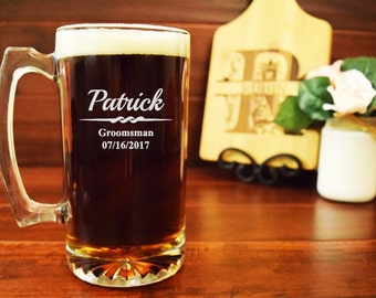 5 Groomsmen Beer Mugs, Engraved Set of 5, Personalized, 25 ounces, Groomsmen Gifts, Groomsman Wedding Favors, Beer Steins, BB08