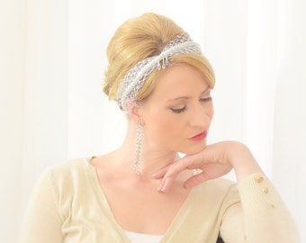 """Rita"" Bridal Veil / headpiece / veil of Bohemian / lace veil / netting veil / vintage veil / silver"