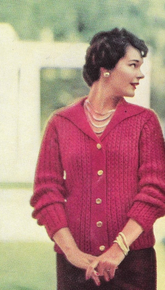 Knitting Sweater Design Book Pdf : Vintage knit pattern knitted sweater s womens