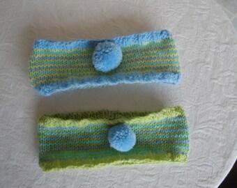 toddler headbands, two baby earwarmers, blue-green headbands, infant headwarmers, baby headband set, pastel headbands, twin baby headbands
