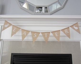 Easter banner with bunnies - Easter burlap banner with white Easter bunnies