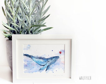 """Whale"", watercolor painting illustration"