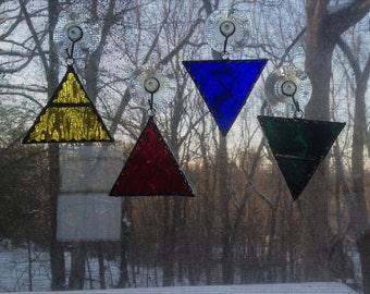4 piece Elements Stained Glass Suncatcher set