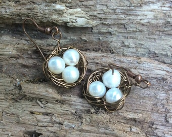Pretty Pearl and Antiqued Copper Bird Nest Earrings 051622E