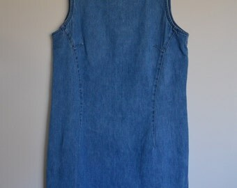Vintage Denim Blue Jean Shift Dress Sleeveless Size 8