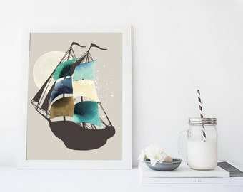 Ship watercolor wall art, art print, boat poster, nautical home decor, pirate ship, blue, home decor, apartment wall art, illustration,