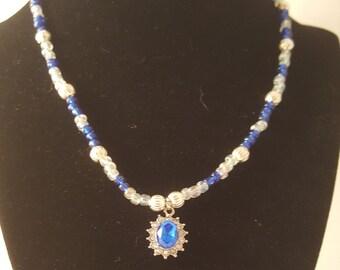 Blue Pendant Necklace -Blue Necklace - Dark Blue Necklace - Silver Necklace - Women's Blue Necklace - Women's Necklace - Dark Blue - Blue