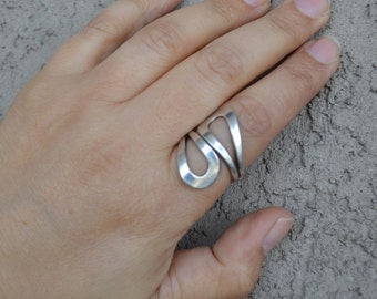 Silver Ring, Sterling Silver Ring, Adjustable Silver Ring, Simple Silver Ring, Size 7, size 8, size 9 (V92)