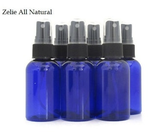 High quality Plastic Bottles - Cobalt Blue Boston Round Bottles - Six (6) 2oz Empty Bottles Set - Plastic Bottles with Sprayer
