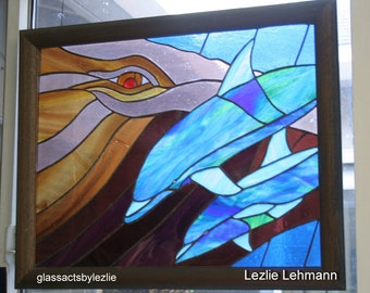 "Whale & Dolphins Stained Glass Panel - 18"" x 24"""