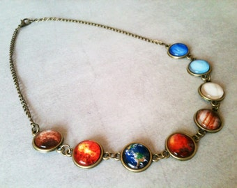 Solar system necklace, planets necklace, space necklace, solar system jewelry, universe, astronomy, gift idea, colorful, mother's day