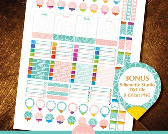 Pink Printable planner stickers, Decorative stickers, Damask stickers, rainbow stickers, silhoutte stickers - STD17