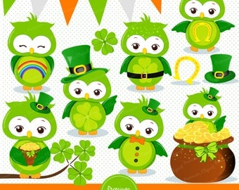 St Patricks owl clipart, St Patrick day clipart, St Patrick graphics, Clove clipart, Owls clipart, Irish clipart - CA343