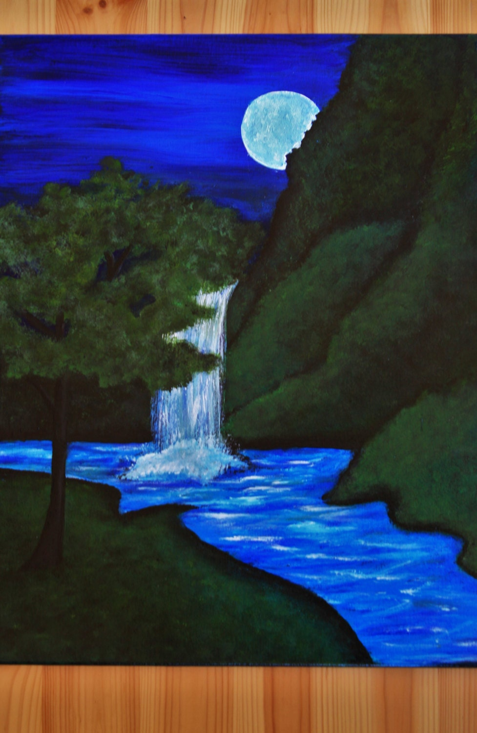 Limited waterfall painting on canvas hand painted waterfall zoom amipublicfo Choice Image