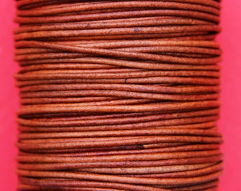 MADE IN SPAIN 6 feet 2mm leather cord, 2mm tobacco leather cord, 2mm round leather cord, (2ANITAB)
