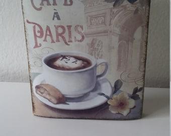 Cafe a Paris Wood Canvas