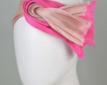 """Turban, headband, charleston style, 20ies style, nude and pink, banana fiber, """"Daisy"""""""
