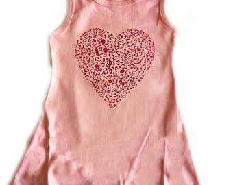 Girls Pink Dress with Pink Music Note Heart
