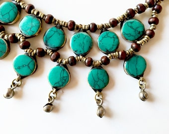 Wild Meadows - Jade Necklace - Afghan Jewelry - Statement Necklace - Bib Necklace  - Bohemian Jewelry - Holiday Jewelry - Christmas Gift
